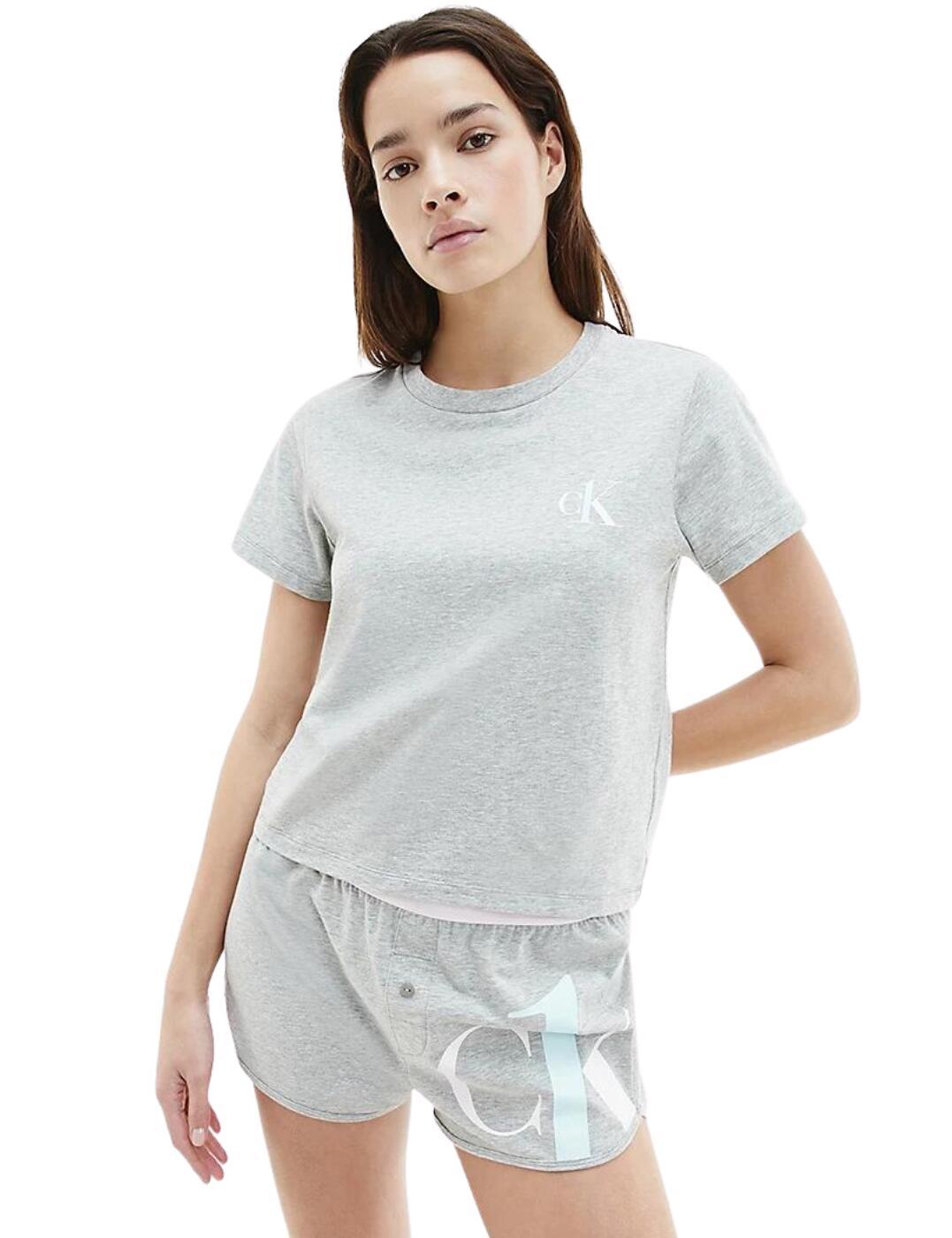 Calvin Klein CK One Shorts Pyjama Set Grey Heather/Pearly Pink