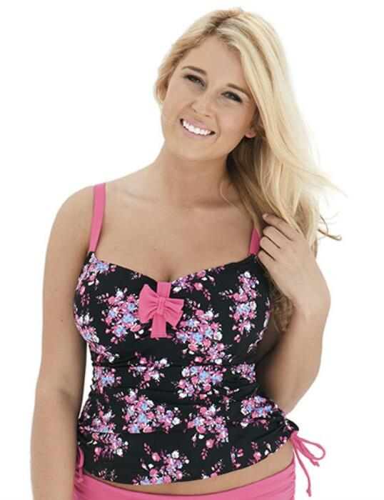 CS2506 Curvy Kate Moonflower Tankini Top - CS2506 Black/Floral