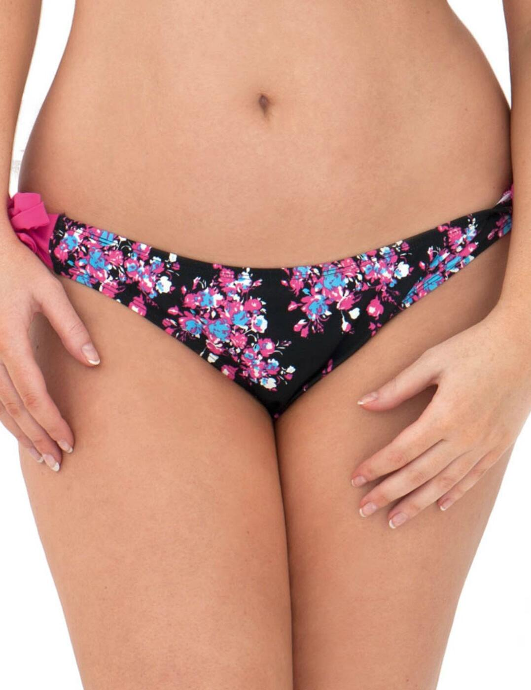 CS2515 Curvy Kate Moonflower Ruffle Tie Side Brief Black/Floral - CS2515 Tie Side Brief