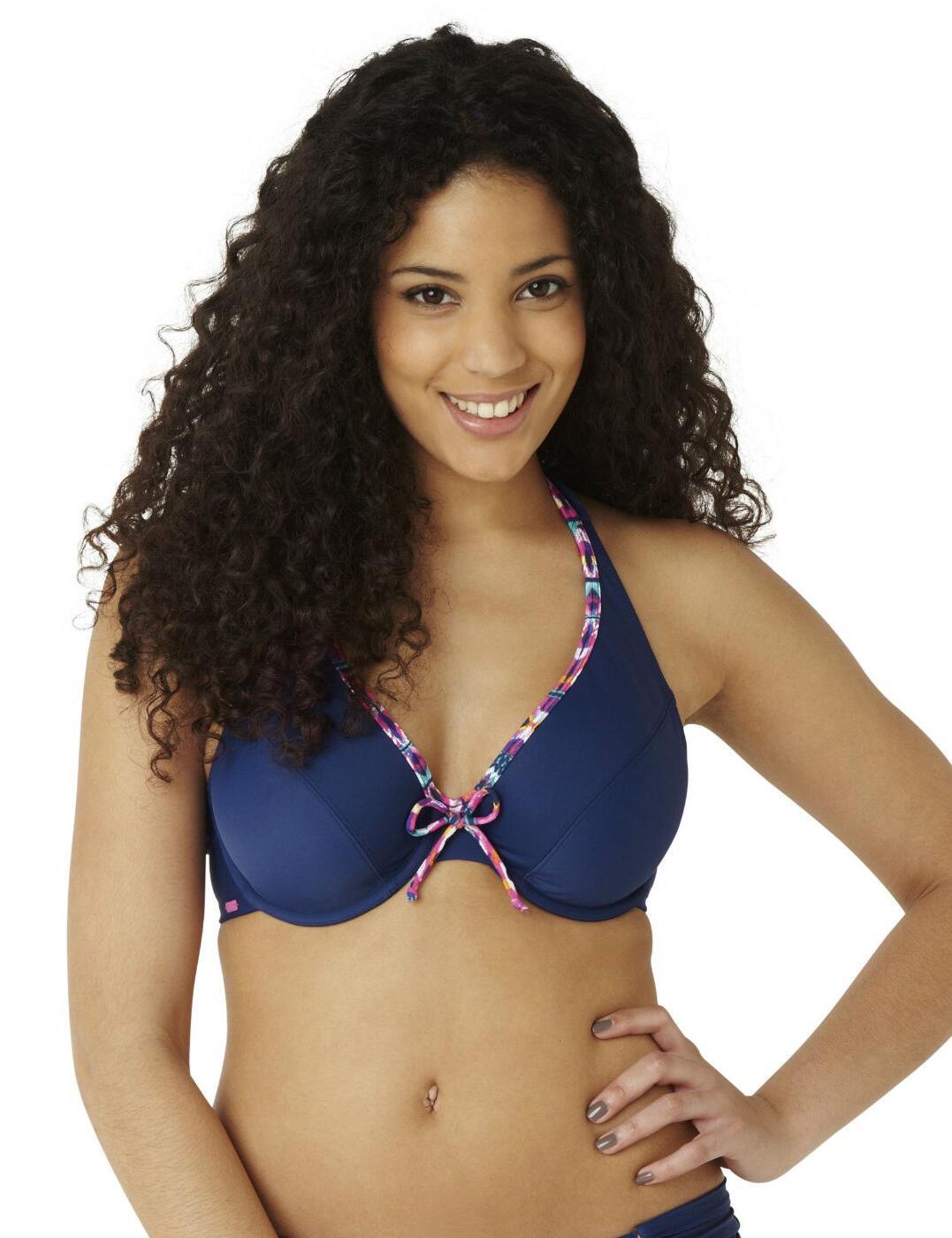 CW0174 Cleo Lexie Halterneck Bikini Top Ikat Print - CW0174 Halter Bikini Top