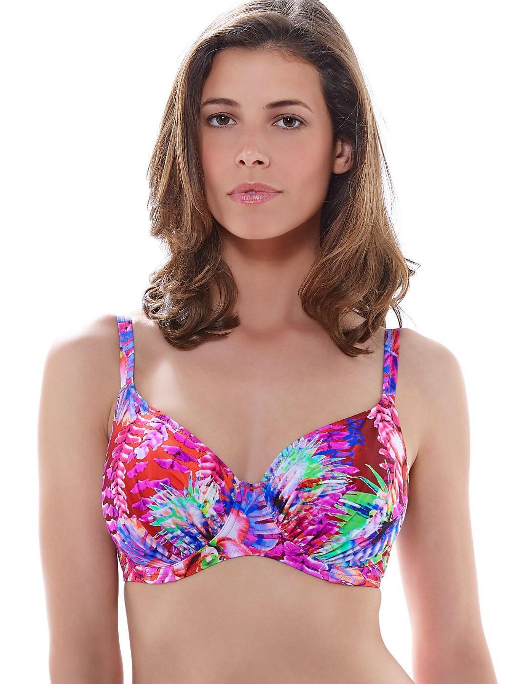 6170 Fantasie Punta Cana Gathered Full Cup Bikini Top Hot Coral - 6170 Full Cup Bikini Top