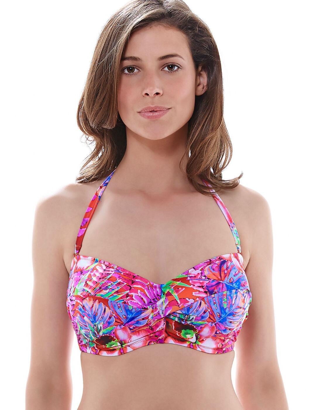 6171 Fantasie Punta Cana Twist Bandeau Bikini Top Hot Coral - 6171 Bandeau Top