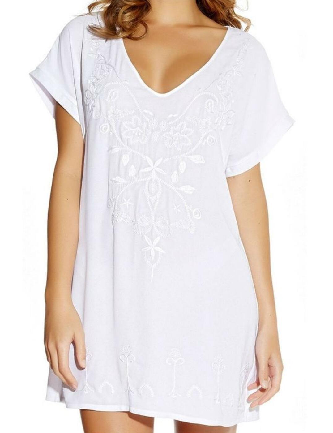 5031 Fantasie Thea Embroidered Beach Tunic Dress - 5031 White