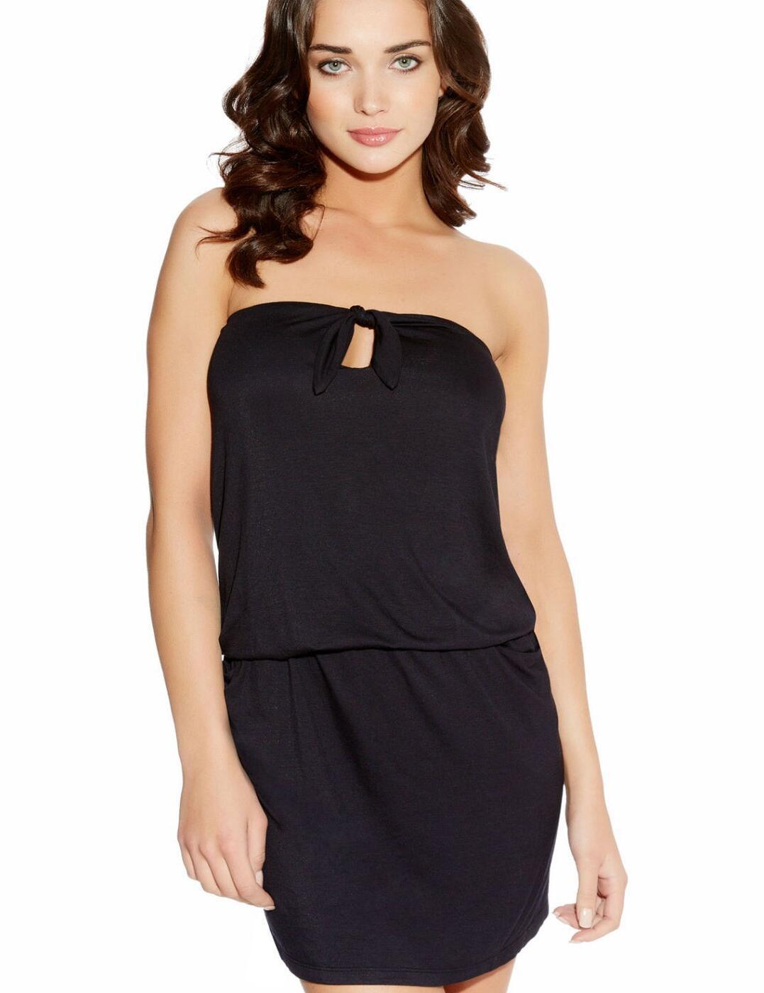 3620 Freya Poppy Bandeau Tie Front Beach Dress - 3620 Black