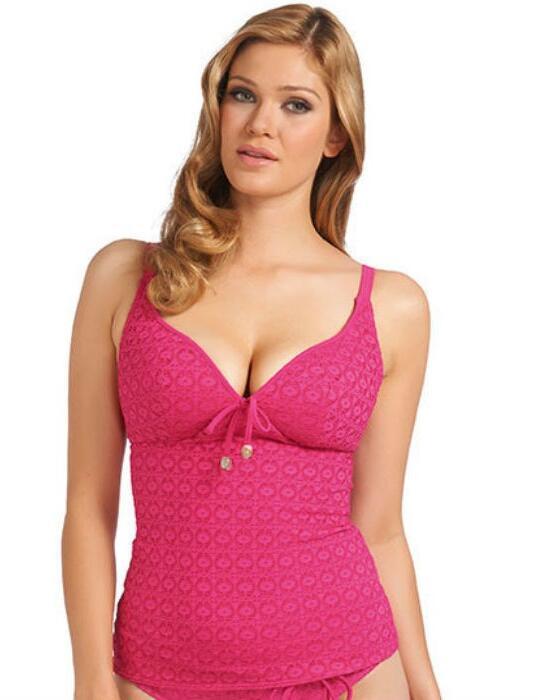 3906 Freya Spirit Soft Plunge Tankini Top - 3906 Hot Pink