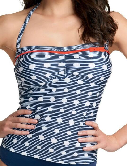3466 Freya Hello Sailor Bandeau Tankini Top Blue - 3466 Tankini Top