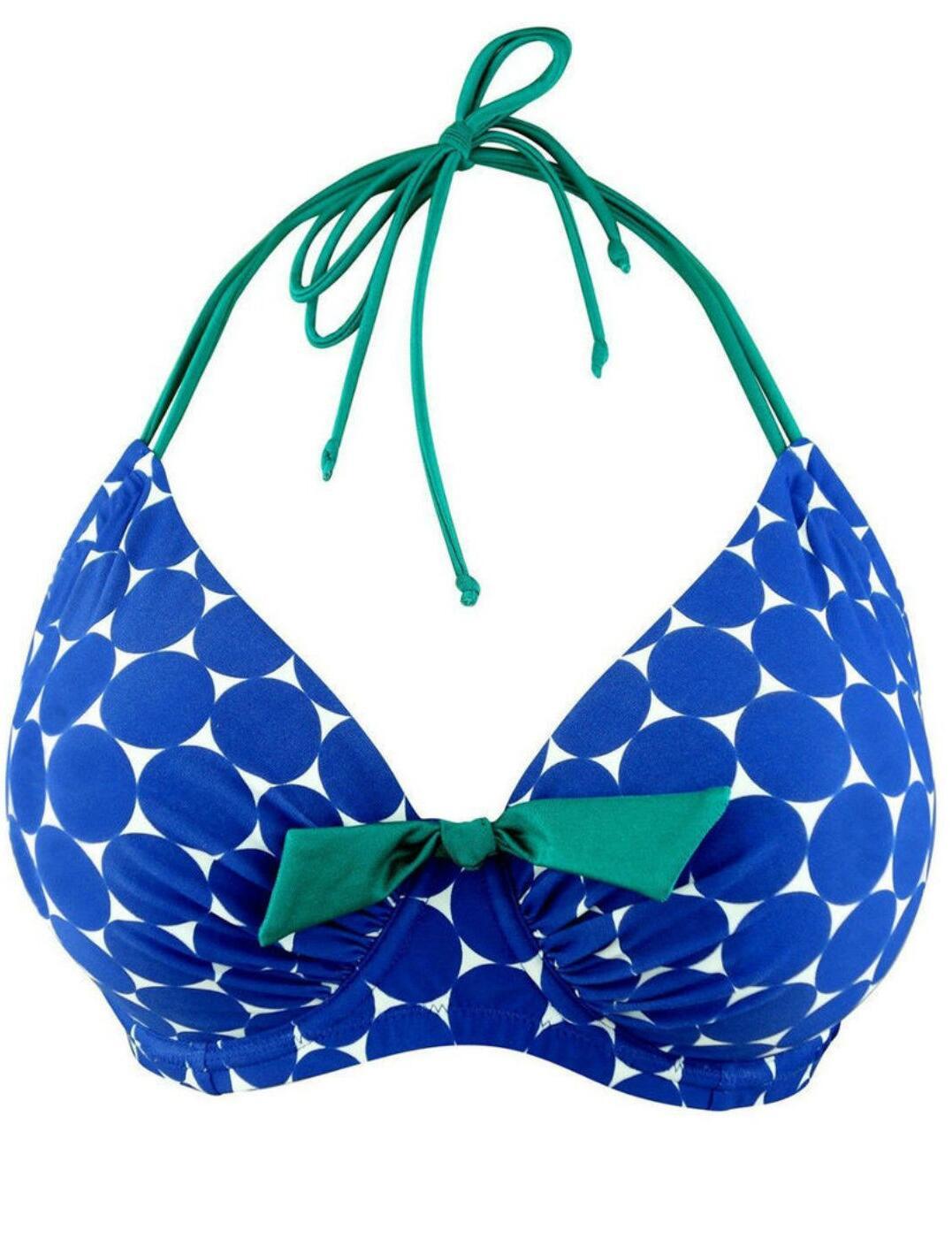 Pour Moi Spot On Halterneck Bikini Top 25002 Blue Multi Print Bikini Top