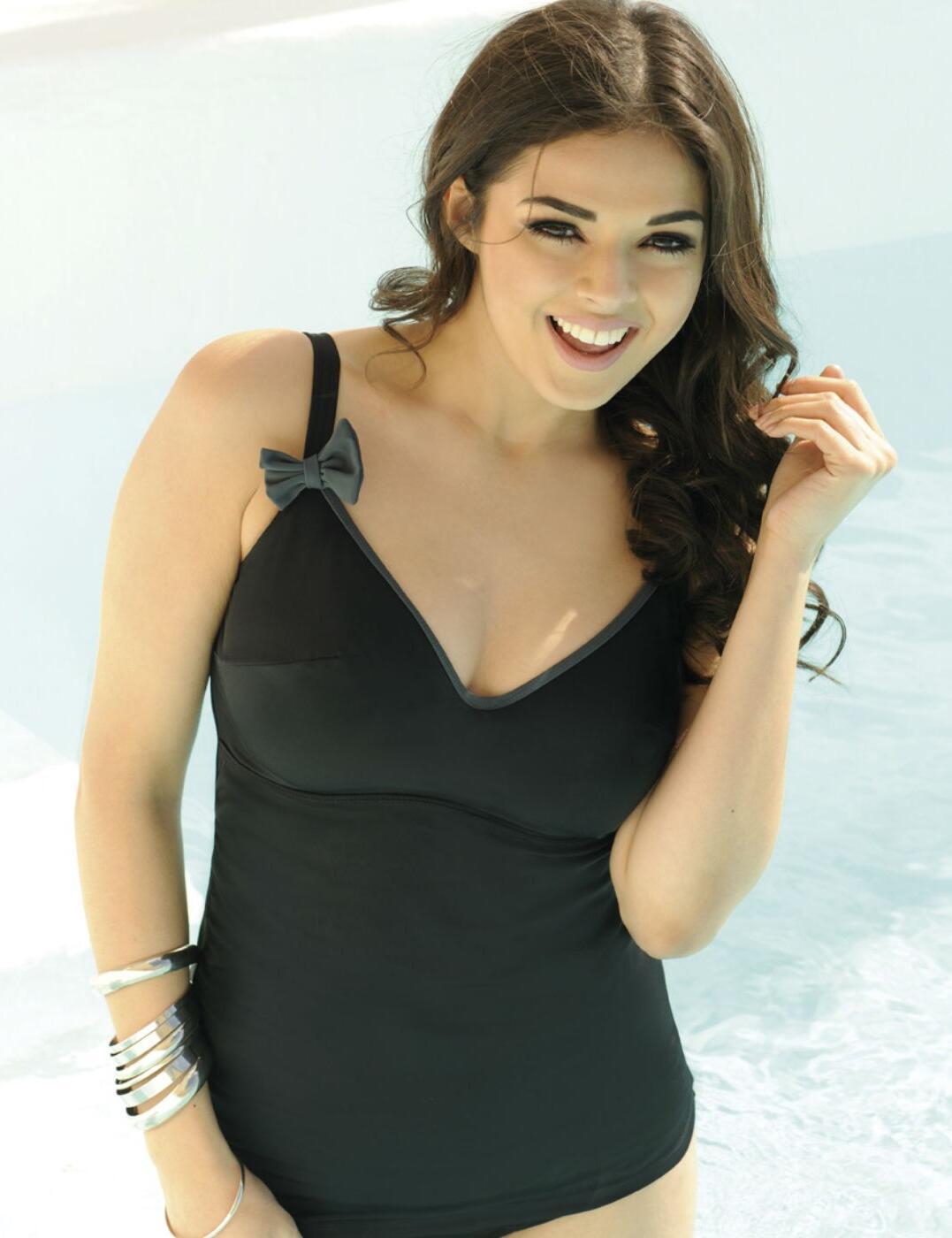 CS8006 Curvy Kate Moonlight Tankini Top Black  - CS8006 Black/Charcoal