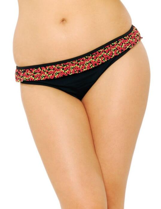 CS9035 Curvy Kate Flirt Skirted Bikini Brief - CS9035 Black Floral