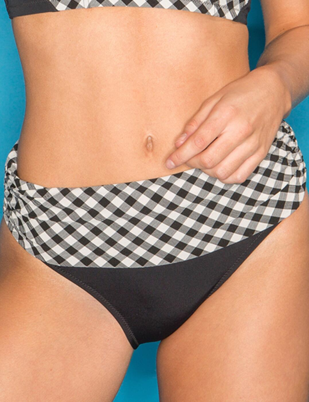 67003 Pour Moi? Checkers Fold Bikini Brief - 67003 Black/White