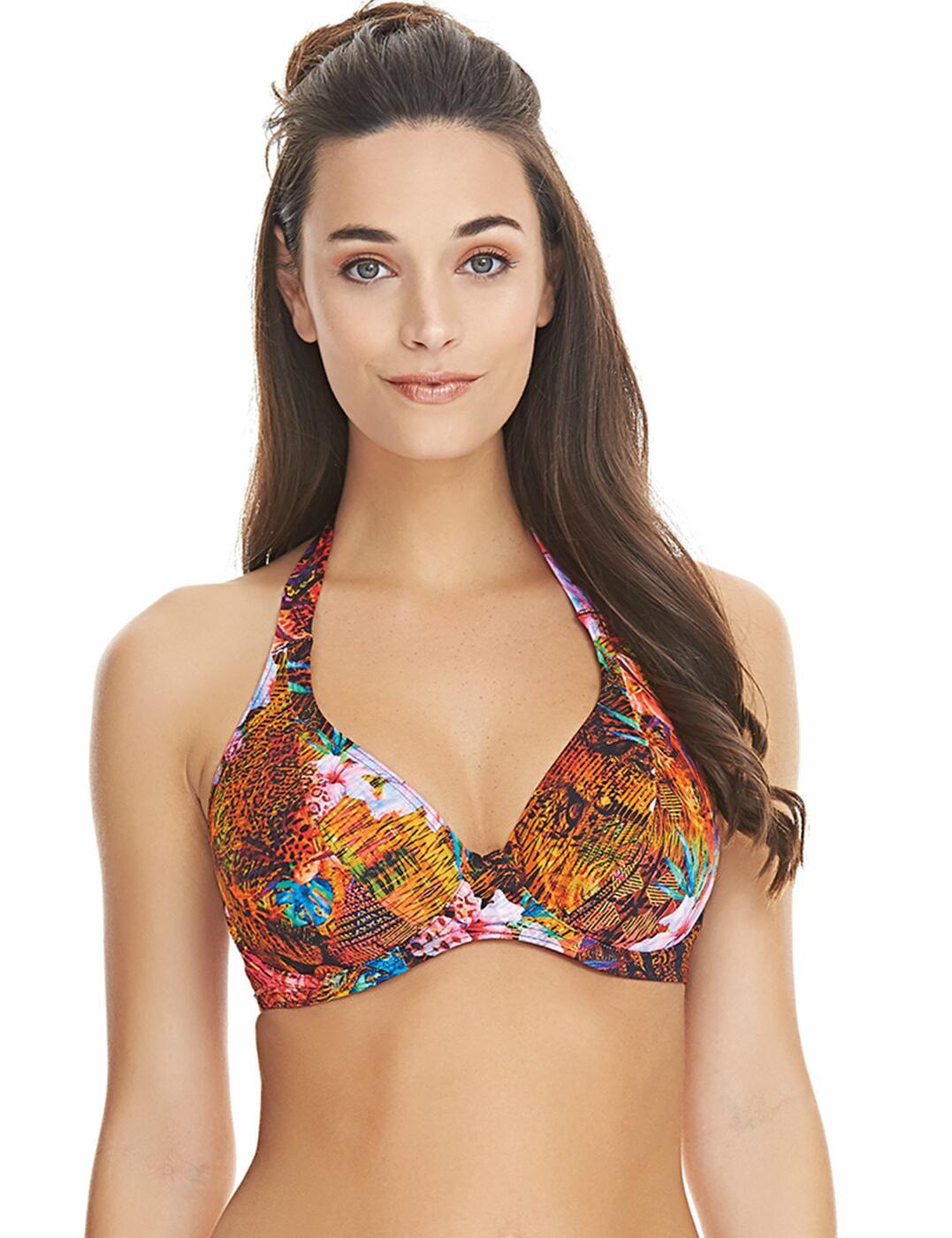 3722 Freya Safari Beach Halterneck Bikini Top - 3722 Multi