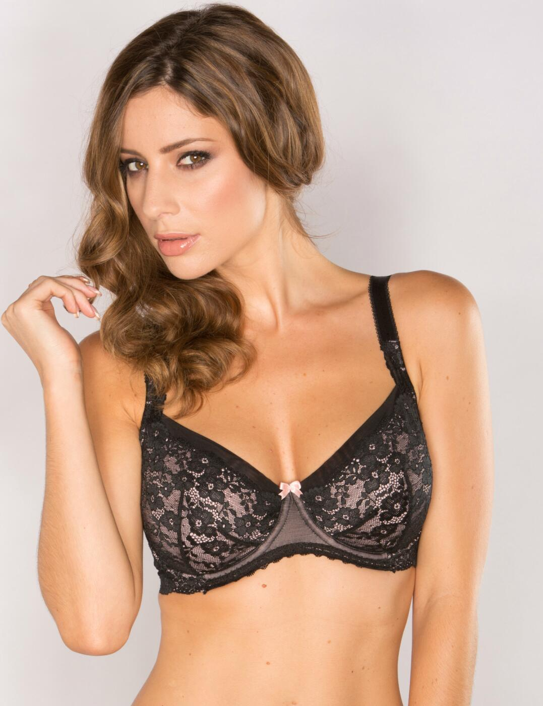 9502 Pour Moi Love Lace Underwired Balcony Bra  - 9502 Black/Pink