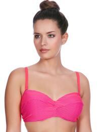 3847 Freya Horizon Twist Front Bandeau Bikini Top Hot Coral - 3847 Bandeau Bikini Top