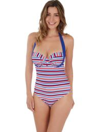 1686820 Lepel Sailor Halter Balcony Swimsuit - 1686820 Blue/Red/White
