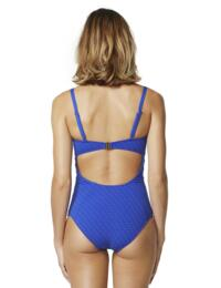 M4336WV Moontide Woven Texture Underwired Trim Front Swimsuit - M4336WV Electric Blue