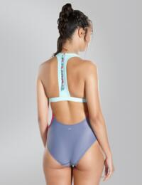 810908B621 Speedo H2O Active Luna Vision High Neck Swimsuit - 810908B621 Grey/Pink