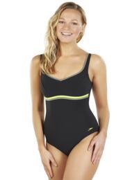 810417B729 Speedo Sculpture Contourluxe Swimsuit - 810417B729 Black/Moss/Lime Punch