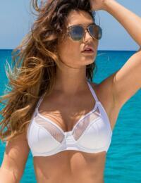 30006 Pour Moi? Glamazon Underwired Convertible Plunge Bikini Top - 30006 White