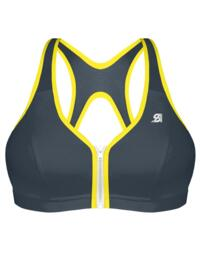 S00BW Shock Absorber Zip Front Sports Bra  - S00BW Charcoal/Lime