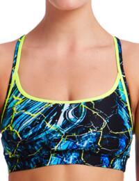 FS02L01986 Funkita Ladies Midnight Marble Sports Bikini Top - FS02L01986 Midnight Marble