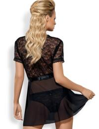 Obsessive Swanita Robe & Brief Set - Black