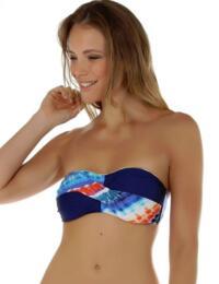 08-1333 SeaSpray Crete Twist Bandeau Bikini Top - 08-1333 Blue/Orange