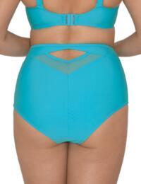 Curvy Kate Sheer Class High Waist Bikini Brief in Turquoise