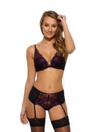 Gossard VIP Floral Attraction Suspender in Black/Purple
