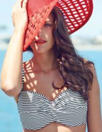 SW0893 Panache Anya Stripe Bandeau Bikini Top  - SW0893 Black/White