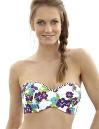 SW0873 Panache Elle Bandeau Bikini Top White/Floral - SW0873 Bandeau top