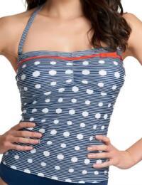 3466 Freya Hello Sailor Bandeau Tankini Top Blue - 3466 Tankini Top